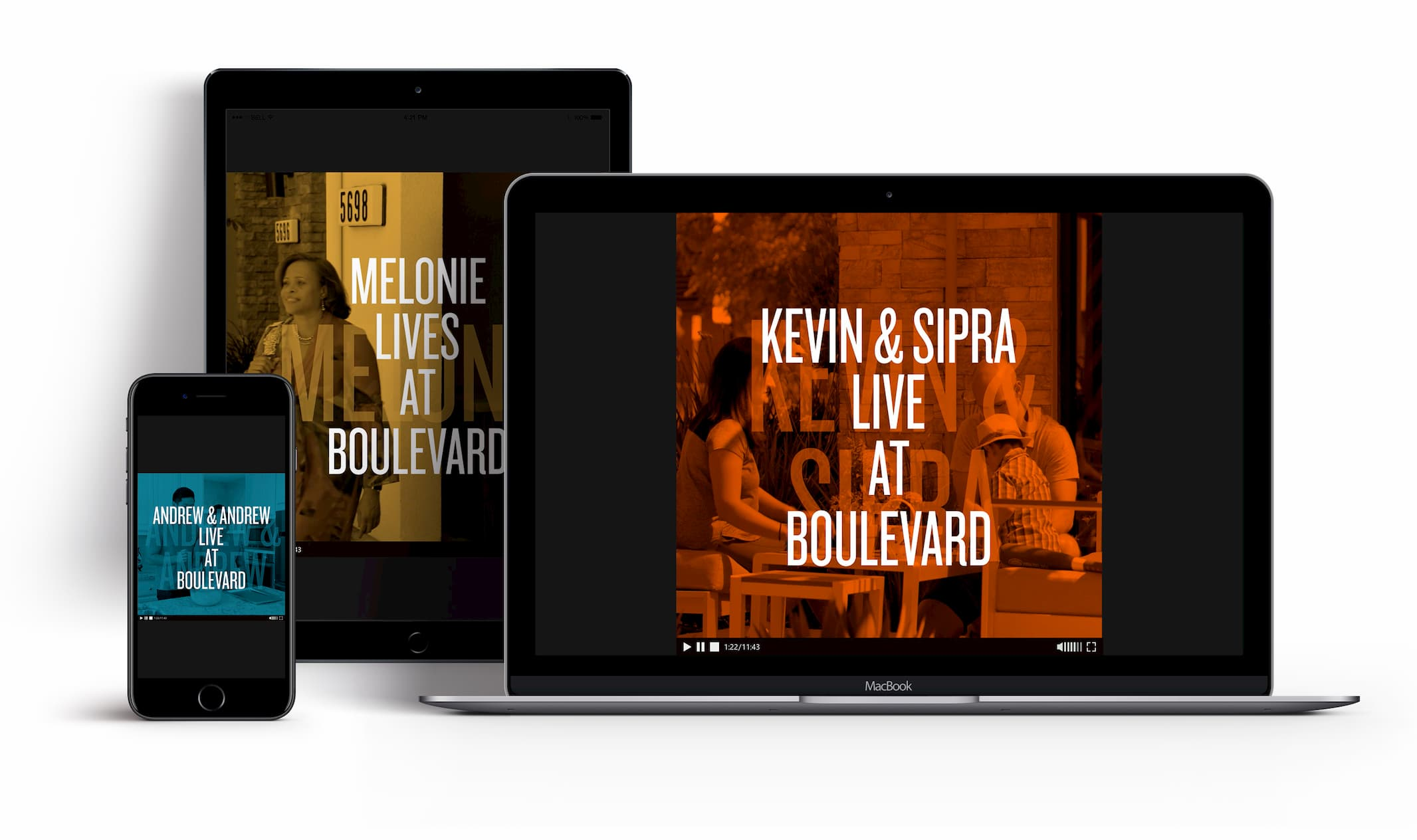 boulevard videos displaying on laptop, tablet and phone
