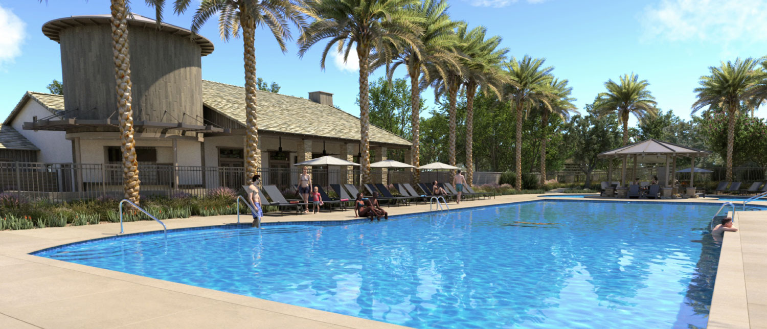 Rendering of the pool at Sommers Bend in Temecula, CA