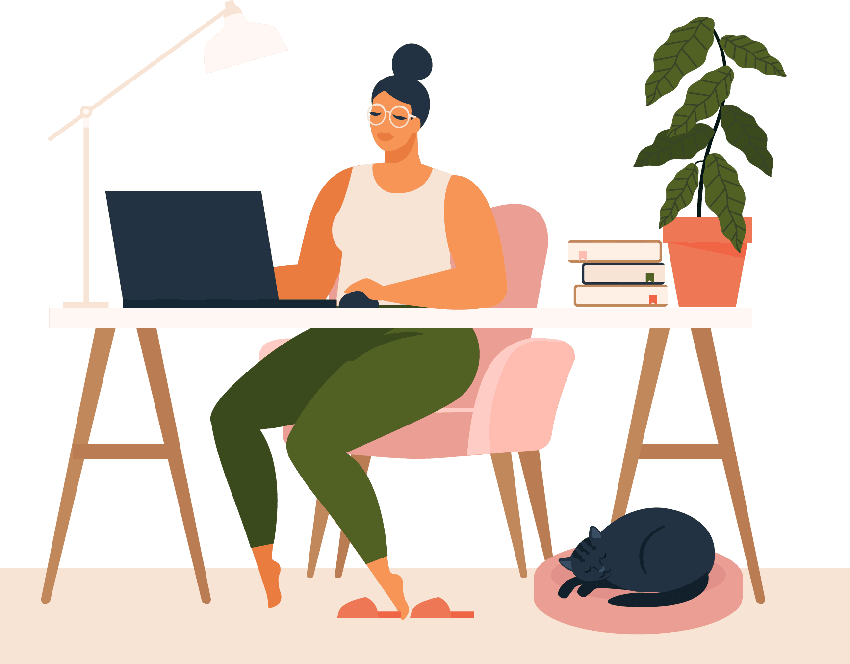 Graphic of a lady sitting at a computer desk with a cat at her feet.
