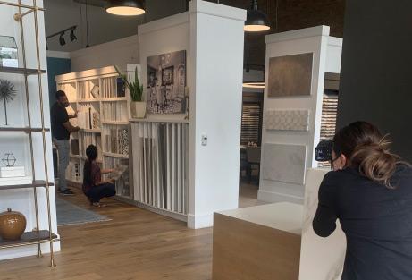 Photo shoot in a design center.
